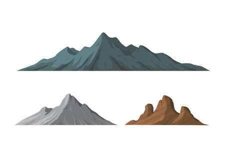 Different Shapes of Mountains Vector Illustration Illustration