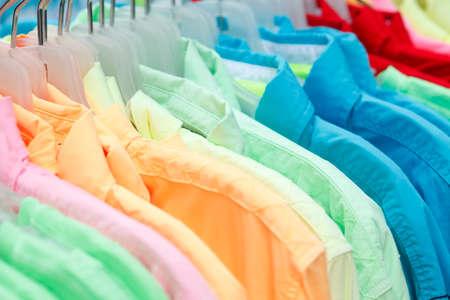 clothes rail: T-shirts on a clothes rail