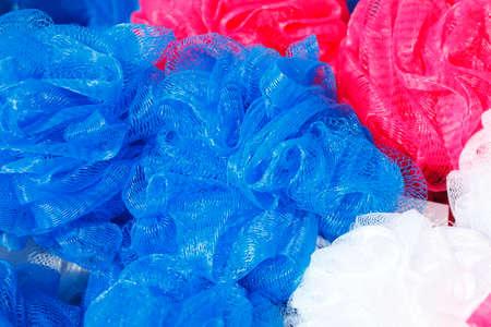 Colorful Bath Sponges in a Shop