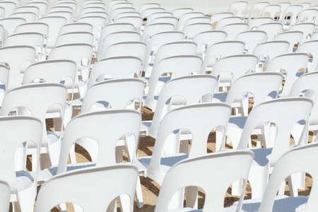 chairs: white Plastic Chairs Stock Photo
