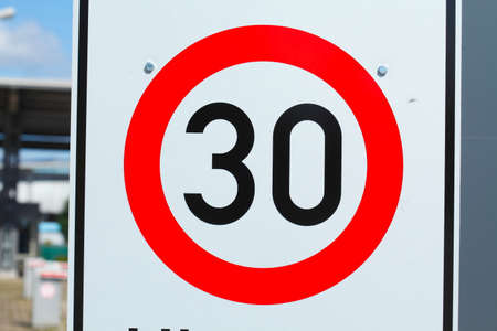 city limit: Road  Sign speet Limit 30 Kmh, Germany, Europe Stock Photo