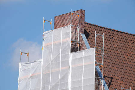 gabled: construction site on a  house roof