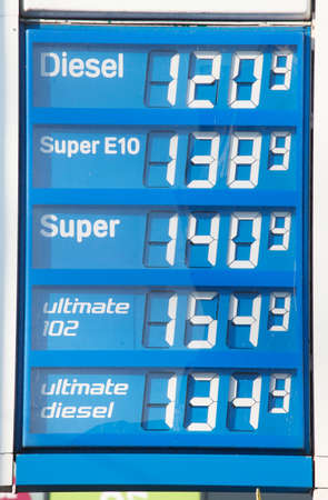 Electronic price display at a petrol station, Bremen, Germany, europe Stock Photo