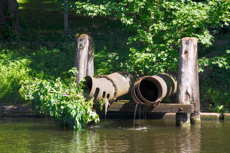 old canal pipes on River