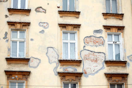 Windows of an Old House , Krakow, Lesser Poland, Poland, Europe