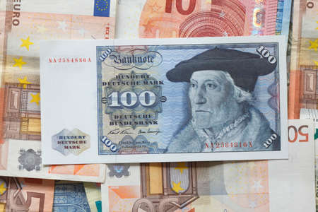 Old Hundred Deutschmark Banknote, Bill Banco de Imagens