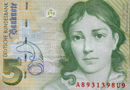 Old Five Deutschmark Banknote, Bill