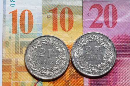 スイスのフランクの紙幣や硬貨