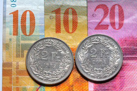 Swiss Frank Bills and coins