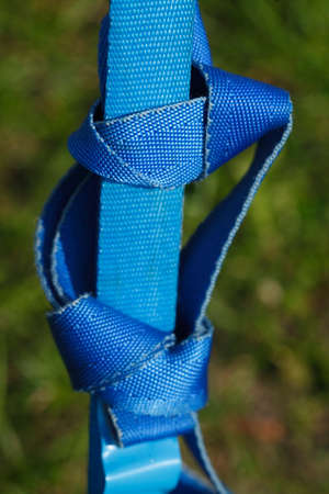 blue colored ratchet lashing strap Stock Photo