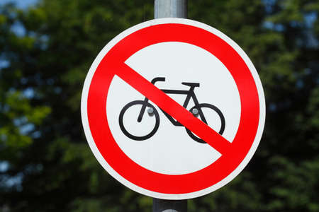 prohibition sign no  bicycle, road sign