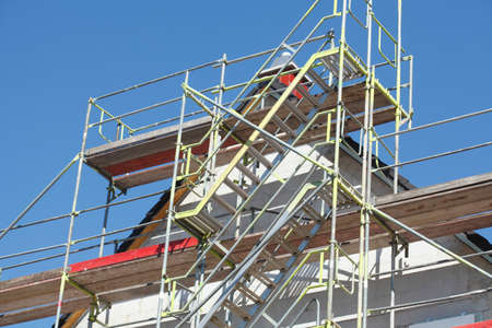 Building Site with roof on a new building Stock Photo