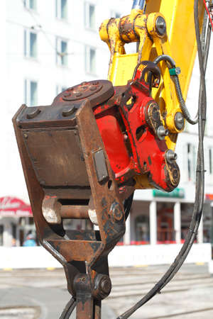Hydraulic on an Excavator on a Construction Site