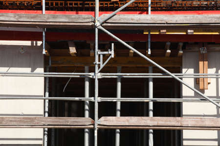 metal scaffold on a new building house