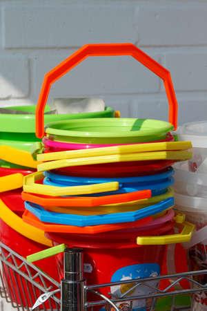 Colorful Plastic Toys, Plastic buckets Stock Photo