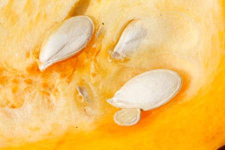 pumpkin cores in a yellow-orange pumkin Stock Photo