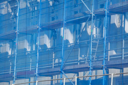 Construction site, scaffold, roof, roof windows