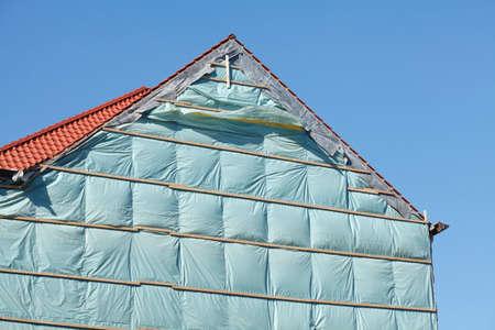 roof, house wall, green  construction cover, Фото со стока