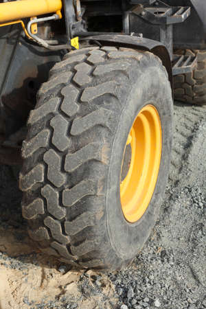 Profile of an excavator tyre on a Construction site