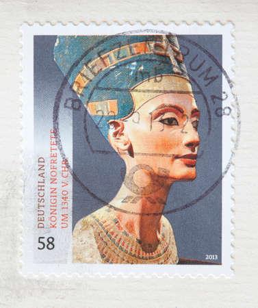 German stamped Postage Stamp Nofretete on a Envelope