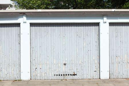 Bright garage door made of metal Stock Photo