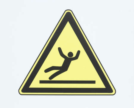 Sign systems no winter service - danger of slipping and stumbling Stock Photo