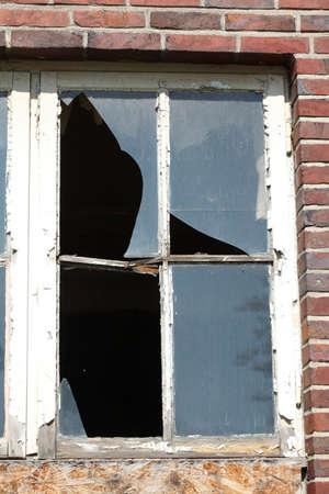 Fragmented glass, old broken window