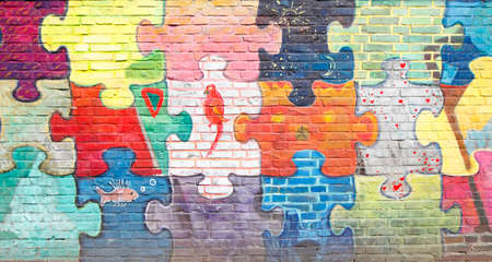 Colorful brick wall, bricks, background picture, texture