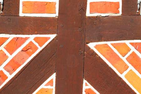 Brick wall with timber beam, Eutin, Holstein Switzerland, Schleswig-Holstein, Germany, Europe Reklamní fotografie