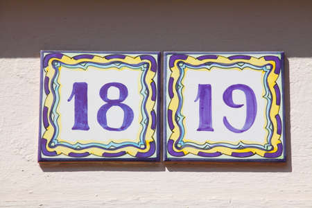 colorful house nameplate number 18-19, colorful tiles, Germany, Europe