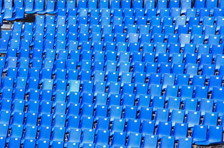 Blue chair row made of plastic, Germany, Europe