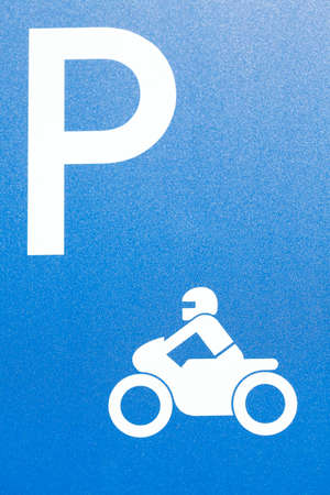 Road sign motorcycle parking lot, Germany, Europe