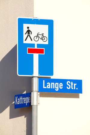Road sign dead end, pedestrians, cyclists, street signs, Germany, Europe
