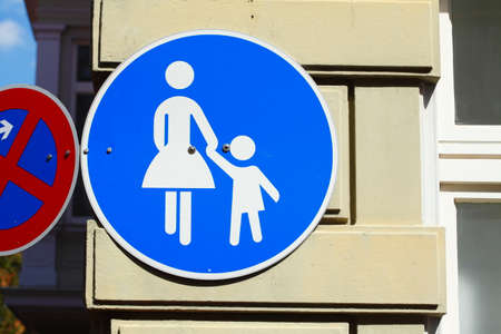 Road sign pedestrian path on a house wall, old town, Stade, Lower Saxony, Germany, Europe