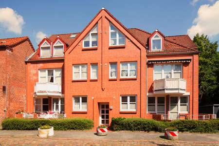 Modern residential building made of brick, multi-family house, residential building, old town, Stade, Lower Saxony, Germany, Europe