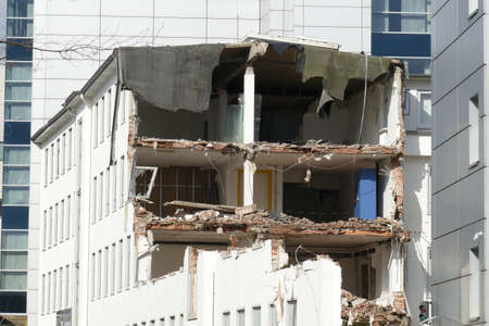 Rubble of a demolished house, Bremen, Germany, Europe