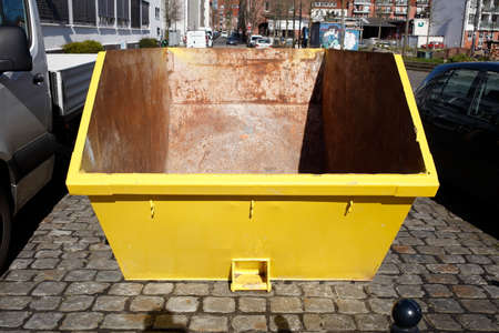 Empty skip for building rubble, Germany, Europe
