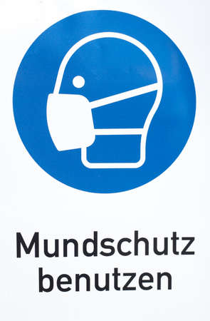 Use mouthguard sign, mask requirement, Germany, Europe