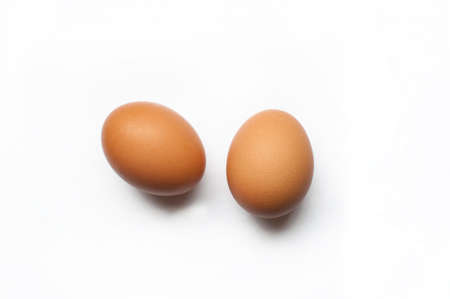 Two eggs on white background photo