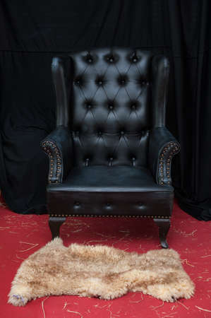 Black leather chair photo
