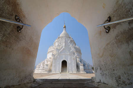 White temple in Mingun, Mandalay, Myanmar  Stock Photo