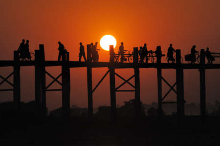 sunset at Mandalay bridge, Myanmar  Stock Photo