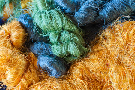 Colorful raw silk thread background