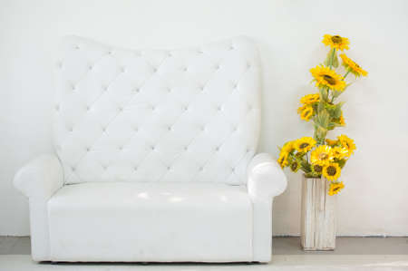 White leather sofa in the room photo