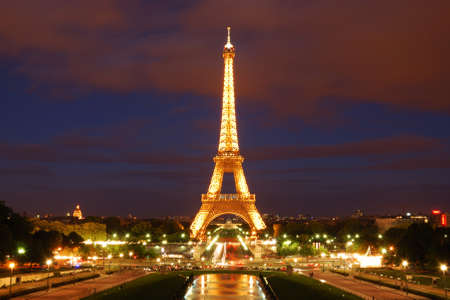frontal views:  Eiffel tower at night Editorial