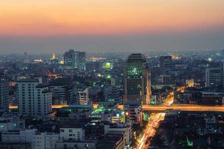 Bangkok downtown top View at Night  photo