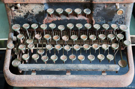 Antique keyboard of typewriter photo