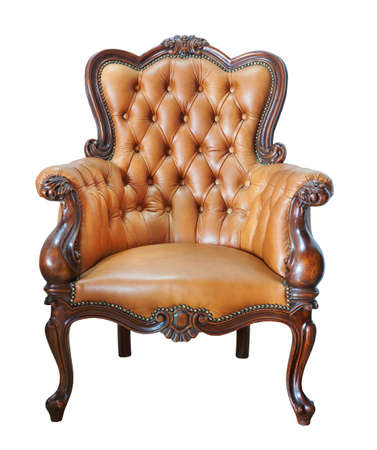 Vintage leather chair isolated on white background photo