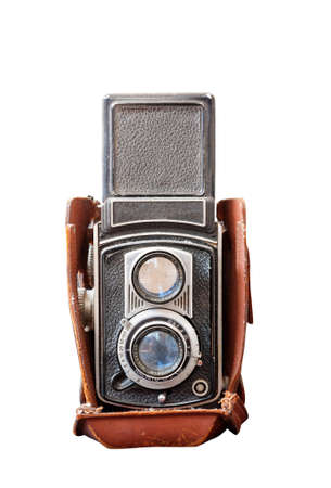 Old TLR camera isolated on white background Stock Photo
