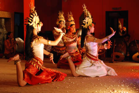 SIEM REAP, CAMBODIA - MAY 3   Khmer classical dancers performing in full traditional costume May 3, 2009 in Siem Reap, Cambodia Angkor Wat is the most visited place in Cambodia